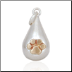 Tear Drop Charm with Bronze Paw - Sterling Silver Pet Lover Jewelry