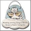 Cat in Heaven, Meowing and Purring, up in Heaven Ceramic Ornament for Cat Lover (SKU: AC-2301B)