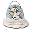 Dog in Heaven Barking, Playing up in Heaven Ceramic Ornament for Dog Lover (SKU: AC-2302B)