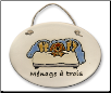 Dog in Bed Menage A Trois Ceramic Wall Plaque for Dog Lover (SKU: AC-4122A)