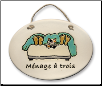 Cat in Bed Menage A Trois Ceramic Wall Plaque for Cat Lover (SKU: AC-4123A)