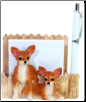 Tan & White Chihuahua Pet Note Holder (SKU: DBBreed-TanChihuahuaNotepad)