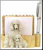 White Poodle Pet Note Holder (SKU: DBBreed-WhitePoodleNotepads)