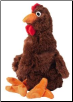 Doggles Bottle Critters - Plush Dark Brown Chicken Dog Toy
