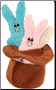Mini Bunnies in Brown Hat (SKU: DBTOY-SW404CS)
