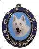 German Shepherd, White - Dog Key Chain by E&S Imports (SKU: ES-KC75W)
