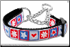 Patriotic Stars and Hearts Dog Collar & Leash