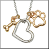 Dog Charm Necklace - Heart with Bone & Paw (SKU: RD-6263)