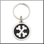 Crossbones / I Love My Dog - Pewter Keychain
