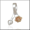 Bronze Paw and Heart Slide - Sterling Silver Dog Lover Jewelry (SKU: DPJ-1080)