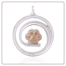 Chasing My Tail Bronze Paw Pendant - Sterling Silver Pet Lover Jewelry