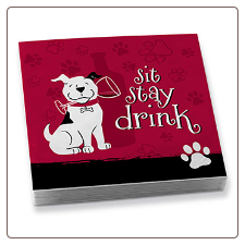 A Sit . . Stay . . Drink!  Dog Lover Cocktail Napkins