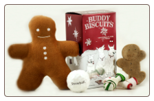 Gingerbread Buddy Biscuits & Toys Holiday Dog Gift Basket