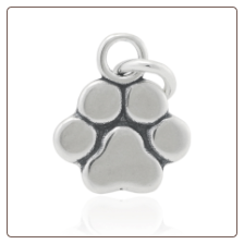 Paw Print Pendant - Sterling Silver Dog Lover Jewelry