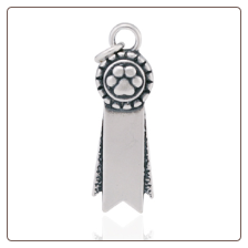 Rosette Paw Ribbon Charm - Sterling Silver Dog Lover Jewelry