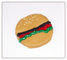 Hamburger Shaped Dog Treats by Pawsitively Gourmet