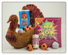 Thanksgiving Basket of Toys & Treats for Kitty