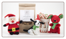 Holiday Tiny Toys & Small Treats Dog Gift Basket