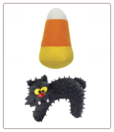 Halloween Candy Corn and Spiky Cat Plush Dog Toy Set