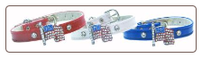 Patriotic Collar with Rhinestone Flag Charm
