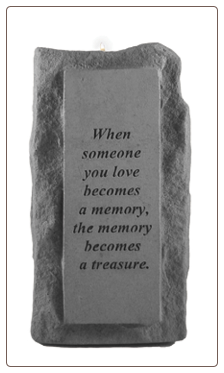 "Stone Memorial Candle - ""When someone you love"" - single light, tall base"